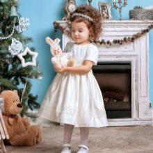 Новогоднее белое пышное платье для девочки