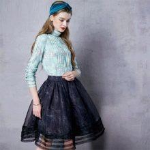 черная юбка-миди из нескольких видов ткани