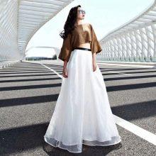 Белая юбка в пол из органзы