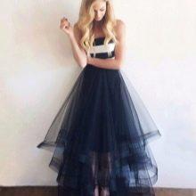 Длинная пышная юбка из органзы синего цвета