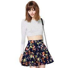 короткая юбка-солнце с цветочным принтом
