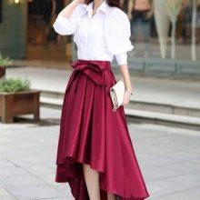 Бордовая юбка с бантом