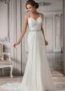 Свадебное платье с тонкими бретелями