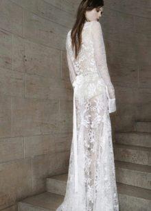 Кружевное свадебное платье от Вонг