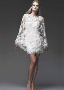 Свадебное платье короткое с вышитыми узорами