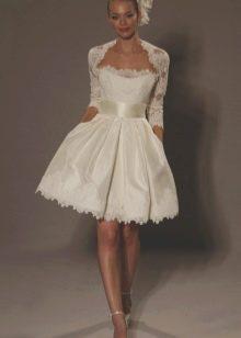 Ажурное болеро к короткому свадебному платью