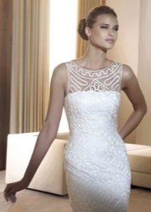 Короткое свадебное платье из кружев