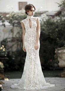 Летнее кружевное длинное свадебное платье