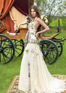 Летнее свадебное платье бохо с открытой спиной