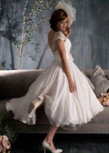 Пышное короткое свадебное платье летнее
