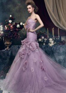 Фиолетовое летнее свадебное платье