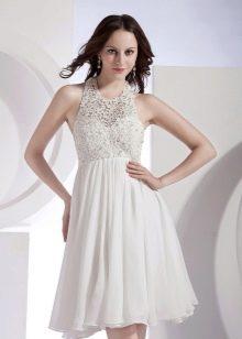 Короткое воздушное шифоновое свадебное платье летнее