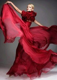 оригинальное красное свадебное платье