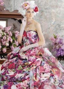 Необычное цветное свадебное платье