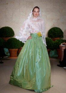 Оригинальное зеленое свадебное платье