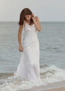 Свадебное пляжное платье со шлейфом