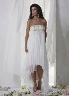 Простой фасон пляжного свадебного платья