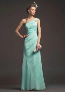 Бирюзовое простое свадебное платье