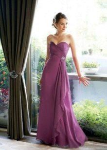 Лавандовое простое свадебное платье