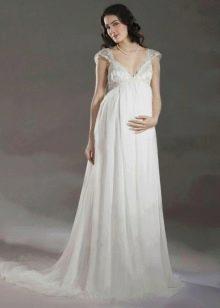 Свадебное простое платье Ампир для беременных
