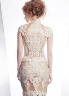 Короткое свадебное платье с эффектом обнаженного тела