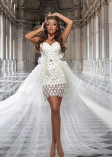 Свадебное короткое сексуальное платье свадебное с пышным шлейфом