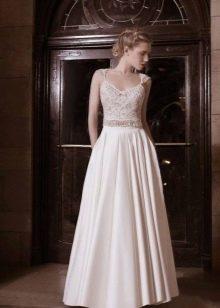 Свадебное платье David Hasbani прямое с кружевным верхом