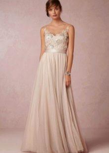 Бежевое свадебное платье в стиле Прованс