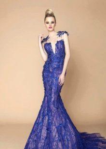 Синее свадебное платье