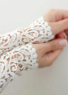 Ажурные перчатки для свадебного платья