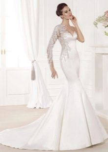 Свадебное платье русалка из атласа со шлейфом