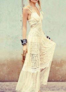 Свадебное летнее платье бохо из кружевной ткани