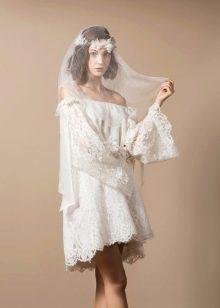 Короткое свадебное платье бохо