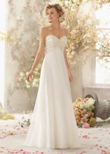 Атласное свадебное платье из атласа и органзы