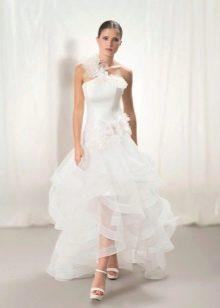 Пышная юбка свадебного платья из органзы