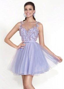 Сиреневое платье короткое пышное