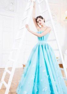бирюзовое пышное платье вечернее