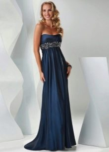 Синее платье ампир