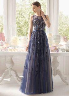 Синее платье вечернее с ажуром от Роса Клара