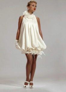 Пышное свадебное короткое платье для беременных