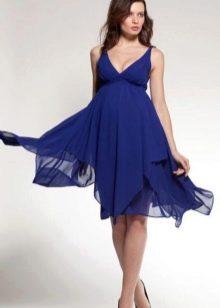Синее платье для беременных в стиле ампир
