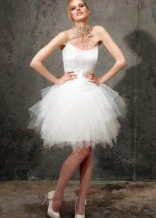 Свадебное платье короткое с пышной пачкой