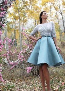 Пышное синее свадебное короткое платье