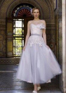 Свадебное платье миди сиреневое
