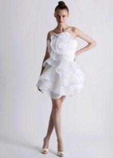 Короткое платье свадебное с драпировкой