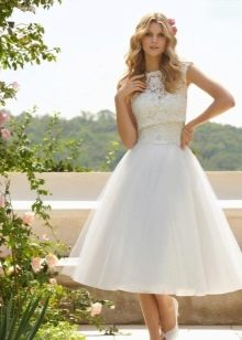 Пышное платье свадебное миди