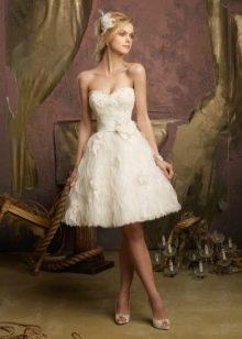 Свадебный наряд короткий с декорированной юбкой