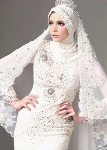 Белое дизайнерское свадебное мусульманское платье