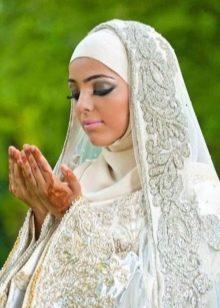 Свадебный хиджаб мусульманский с вышивкой