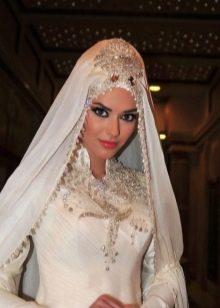 Мусульманское свадебное платье с воротником стойкой